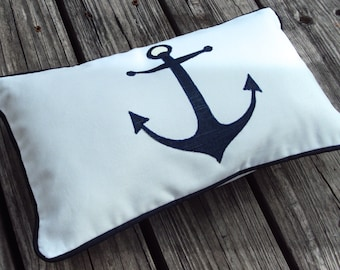 Decorative Navy Blue Anchor Nautical Beach Theme Lumbar Pillow Cover - Purchase With Or Without Pillow Form