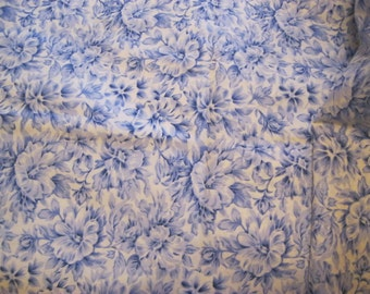 Blue and White Floral Fabric, Flowers, Floral, Quilting, Material