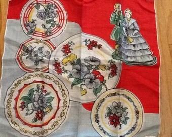 Bernhard Wolf Vintage cotton handkerchief Flowers Romance Valentine