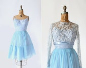 vintage 1950s dress - 50s 60s party dress - cocktail - lilac and periwinkle blue - Small - Lace & Bows