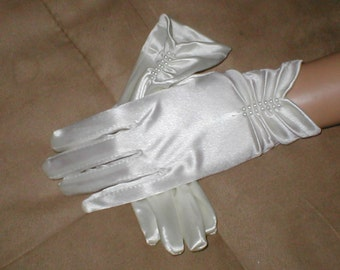 Vintage wrist length Satin CHILDREN'S Gloves