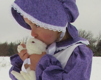Handmade Historical Clothing Girl Halloween Costume -Purple Pioneer- Child Sizes