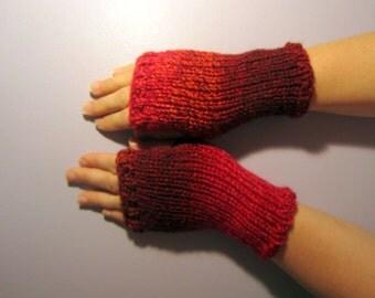 Fingerless Gloves - Red Hand Knit Fingerless Gloves - Shades of Red Knit Gloves