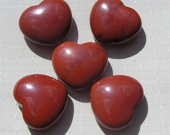 Red Jasper Solid Crystal Puffy Gemstone Heart, 45mm (One Only), Orange Heart, Meditation Stone, Jasper Heart, Aries, Worry Bead, Chakra