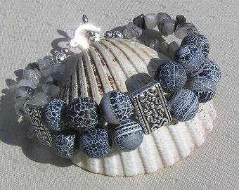 "Frosted Black Agate & Tourmalinated Quartz Crystal Gemstone Bracelet ""Klavier"", Black Bracelet, Quartz Bracelet, Chakra Bracelet, Leo"