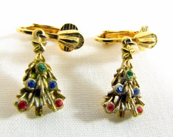 Vintage Gold Tone Christmas Tree Dangle Clip-on Earrings with Rhinestones