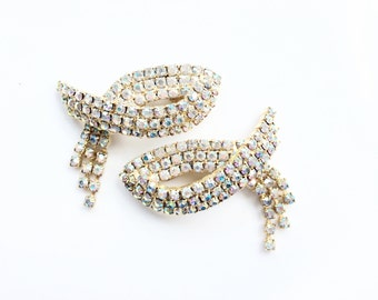 Shoe clips rhinestones vintage MUSI shoe accessory silver tone prong set stones