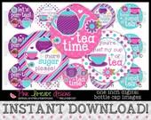 """Tea Time - INSTANT DOWNLOAD 1"""" Bottle Cap Images 4x6 - 732"""