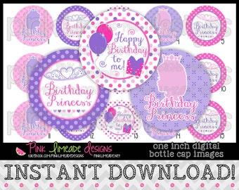 "Birthday Princess - INSTANT DOWNLOAD 1"" Bottle Cap Images 4x6 - 770"