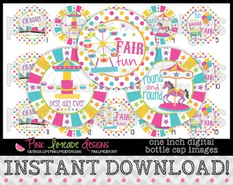 "Fun at the Fair - INSTANT DOWNLOAD 1"" Bottle Cap Images 4x6 - 767"