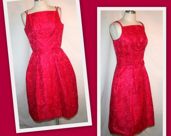 1950s Red Jacquard/Rockabilly/Vintage Party Cocktail Dress