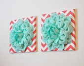 "Two Wall Flowers -Mint Dahlia Flowers on Coral and White Chevron 12 x12"" Canvas Wall Art- Baby Nursery Wall Decor-"