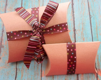 Kraft Pillow Boxes - Brown Kraft Boxes Set of 10 - Pick your size and color