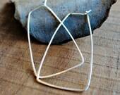 Geometric Silver Hoop Earrings, Trapezoid shape