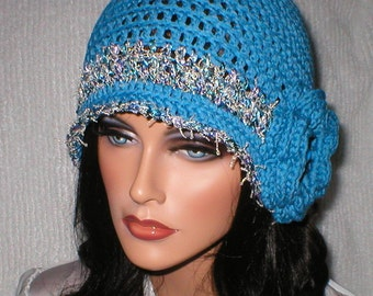 Crochet Women 1920's Blue Sparkle Irish Rose Cloche Flapper Hat