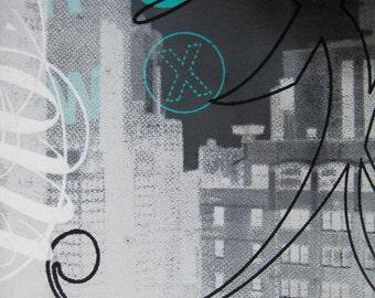 Original silkscreen painting of New York titled NYC #8