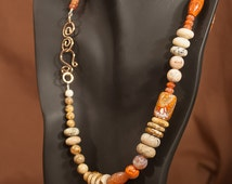 Beautiful and Unique Necklace Picture Jasper Fire Agate African Opal BeautifulHandmade Bronze clasp semi-precious stone natural stone 225