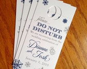 RESERVED for Melissa - Festive Holiday / Winter Wedding Door Hangers with Snowflakes - Do Not Disturb - Custom Colors - Set of 20