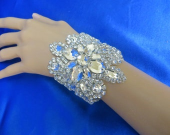 Rhinestone Bridal Bracelet,  Rhinestone Cuff Bracelet,  Formal Bridal Jewelry, Bridal Ribbon Jewelry, Wedding Ribbon  Bracelet
