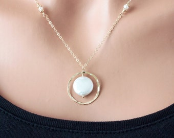 Natural Coin Pearl Necklace in 14K Gold Fill, Modern Design, Plus Sizes, SRAJD