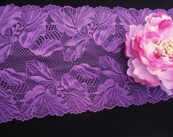 """7.5"""" Wide (19 cm) Stretch Lilac Purple Shimmery Scalloped Lingerie Lace Floral Pattern Bridal Wedding Headband FJT2 S127"""