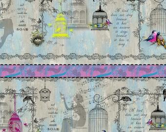 Song Birds Birdcage Stripe - SPX Fabric - Half Yard