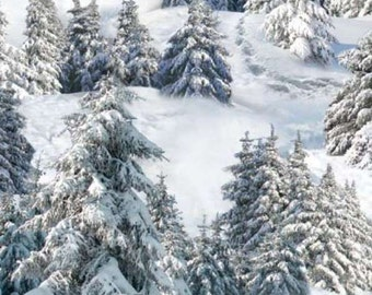 Snowy Mountain Trees - Winter is Coming - Elizabeth Studio -  Half Yard