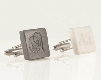 personalized square initial monogram cufflinks engraved letter cufflinks white porcelain initial custom cufflinks wedding groomsmen gift