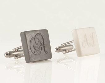 personalized square initial monogram cufflinks engraved letter cufflinks white porcelain initial custom cufflinks wedding groomsmen gift