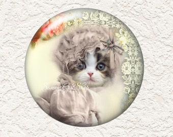 3.5 Inch Large Pocket Mirror Cat in a Hat with Black Velour Bag  Buy 3 Get 1 Free  032LM