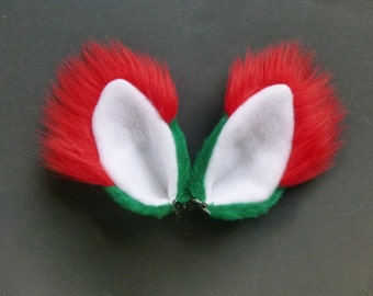 Christmas Red Green White Faux Fur Fox Wolf Dog Coyote Cat Ears Clips Halloween Costume Cosplay