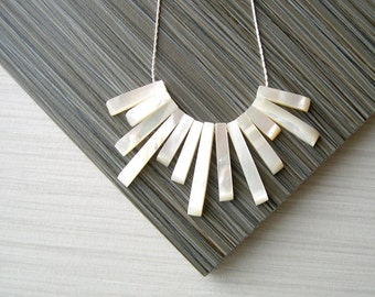 Modern Bridal Jewelry, Mother of Pearl Bib Necklace, Ivory, Fringe, Cream, Nickel Free Wedding Accessory, Sterling Silver, Contemporary