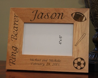personalized engraved wood picture frame ring bearer gift ring bearer frame customized wood - Etsy Picture Frames