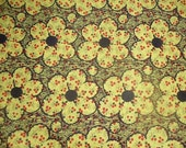 "Cotton Fabric Quilting 1960s 1 Yd. L 43"" W Mint Flower Power Yellow & Black"
