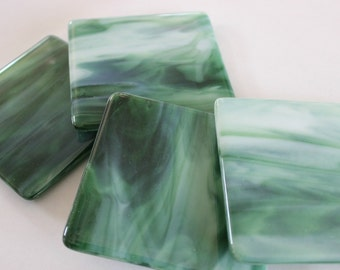 FUSED GLASS COASTERS - Emerald Double Green Drink Coasters, Under 25, Set of Coasters, Green Coasters, Bridal Shower Gift, Fused Glass