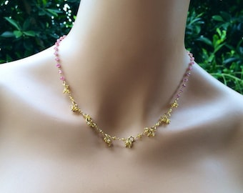 Ooak Ruby Citrine stones Necklace in gold.