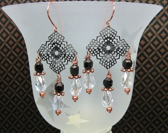 BLACK COPPER DANGLE Drop Filigree Statement BoHo Earrings - BLaCk CoPPeR DanGLeS