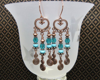 HOWLITE TURQUOISE Southwest Dangles Drop Cowgirl Boho Gypsy Style EArrings - CoPPeR TReaSuRe DRoPs