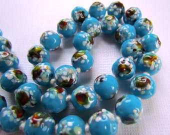 Blue Murano Glass Necklace Venetian Beads
