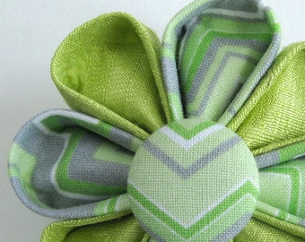 Flower Brooch - Spring Green with Chevron Print - Kanzashi Lapel Pin