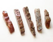 Agate Spikes - Rough Plating Agate Stick - Large Sparkly Brown Chunky Fan Beads - Graduated Top Drilled Point - 5 PCS - DIY Boho Jewelry