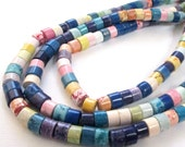 """Heishi Disc Beads - Rondelle Magnesite  Gemstone - Blue Pink White - Multicolored Disk Round - 16"""" Strand - 6mm - Jewelry Making - Diy Craft"""