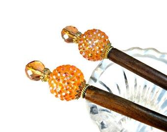 Sparkling Peachy Orange Hair Sticks, Wedding Accessories, Cadmium Orange, PAIR