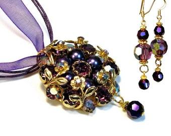 Fancy Purple Eggplant Necklace Earring Set, Pendant with Ribbon, Jewelry Set, Earrings, Prom
