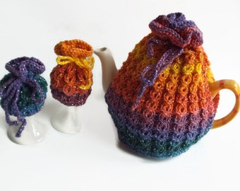 tea cozy hand knitted  tea cosy with two egg cozy