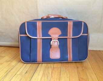 vintage 1970's suitcase / vintage luggage/  medium size / carry on / navy and tan travel accessory /two tone