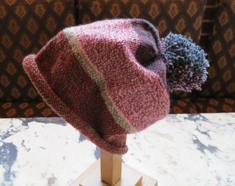 "Slouchy hand knit HAT Stonehedge ""CRAZY"" Wool Cap with PomPom"