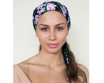 Black Headscarf, Tichel Headcover, Scarf Headwrap, Head Scarves, Headwear, Cotton Head Tie Scarf