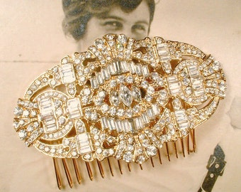 Gold Hair Comb, Art Deco Gold Rhinestone Bridal Headpiece Large 1920s Brooch Wedding Accessory Vintage Inspired Great Gatsby Downton Abbey