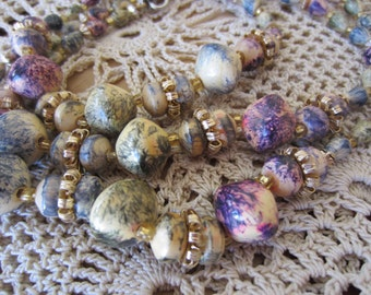 Multi Colored Wooden Beaded Vintage Necklace